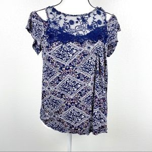 MAURICES Lace Ruffle Tank Top Size Small Blue